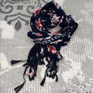 Black tassel floral scarf